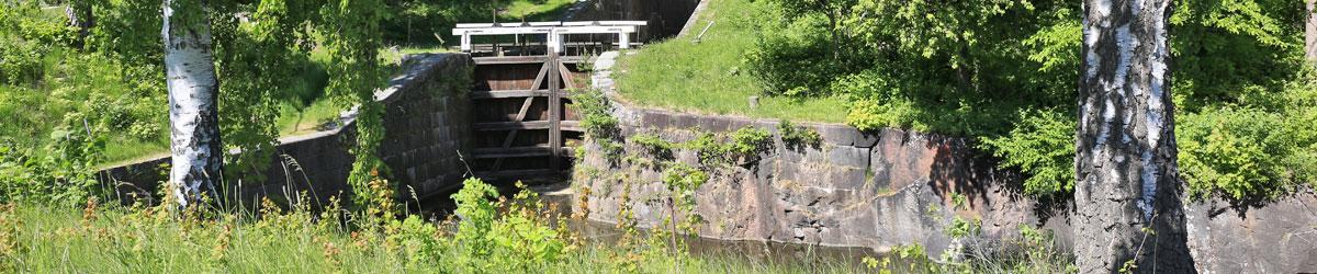 Nedre slussporten i Skanzens sluss i Hallstahammar.